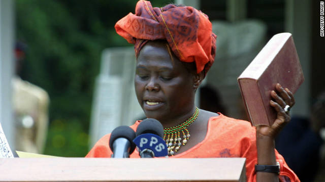 Maathai was a trailblazer throughout her life. She was the first woman in East and Central Africa to earn a doctorate degree and in 2002 was elected to Kenya's parliament with 98 percent of the vote.