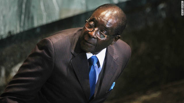 Robert Mugabe, President of Zimbabwe, looks on after delivering an address to the United Nations General Assembly at U.N. headquarters on September 22.