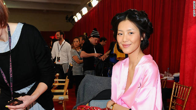 Liu Wen backstage at the 2010 Victoria's Secret Fashion Show in New York.