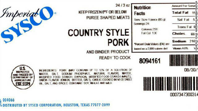 Pureed pork recalled, may contain small chunks of metal