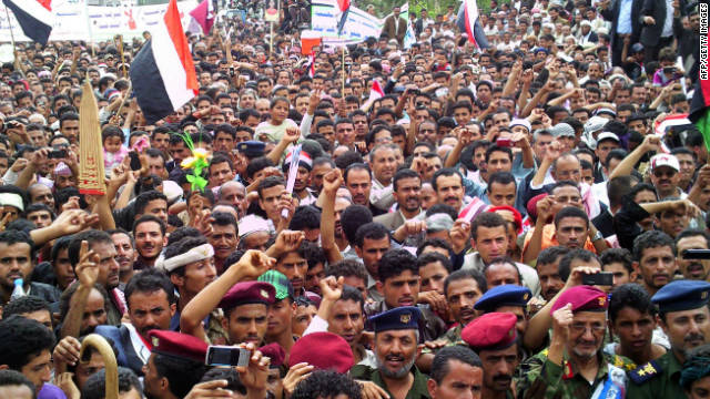 Yemenis rally in Ibb, 190 kms from Sanaa, on September 26 as opposition protests continued across the country.