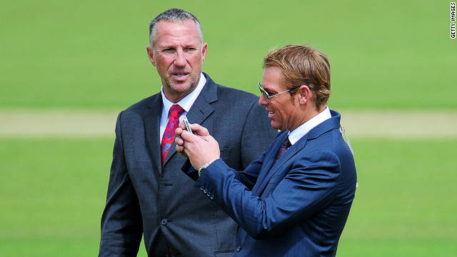 Ex-cricketers-turned-TV commentators Ian Botham and Shane Warne (right) on more familiar turf at the Rose Bowl, Southampton during the summer of 2011. Both will be playing at the Alfred Dunhill Links Championship.