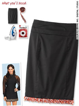 Jewel-lined pencil skirt, inspired by Paula Patton.
