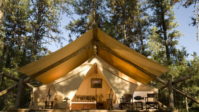 Camping butlers and chefs cater to guests at The Resort at Paws Up in Montana.