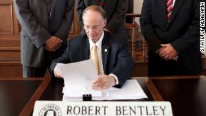 Alabama Gov. Robert Bentley signed the state's anti-illegal immigration bill into law in June.