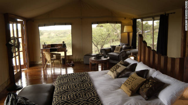 Tents at the Serengeti Migration Camp in Tanzania have hardwood floors and plush bedding.