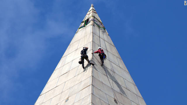 Contractors began conducting a block-by-block inspection of the monument on September 28, 2011.