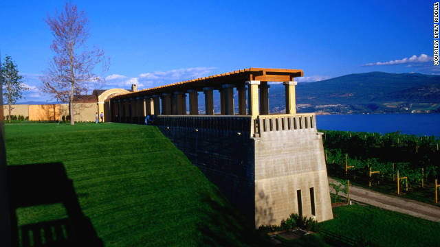 Vineyards line the shores of Lake Okanagan.
