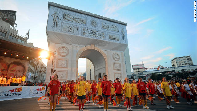 Macedonia arch in central Skopje is another structure built to celebrate the country's20th birthday.