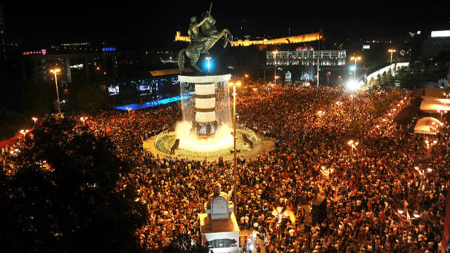 The newly unveiled statue of Alexander the Great in central Skopje's Macedonia Square.