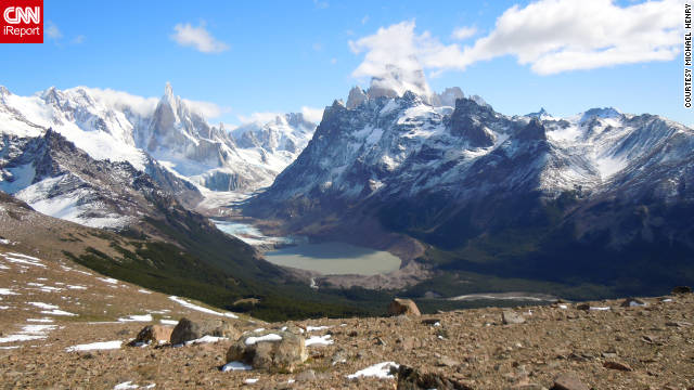 Michael Henry shared this view of Cerro Torre, Mt. Fitz Roy and Torre glacier from Pliegue Tumbado. &quot;It's one of the world's finest views.&quot;
