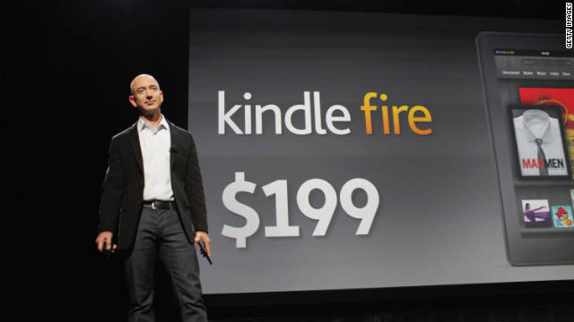 Amazon.com CEO Jeff Bezos unveils the $199 Kindle Fire tablet.