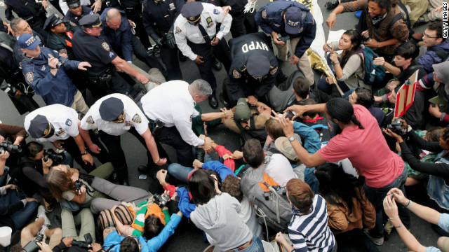 Police encounter demonstators on the Brooklyn Bridge during the Occupy Wall Street protests on Saturday.