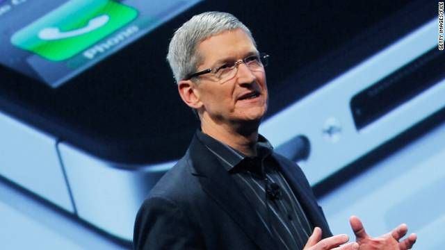 Apple CEO Tim Cook helps unveil the Verizon iPhone in January in New York.