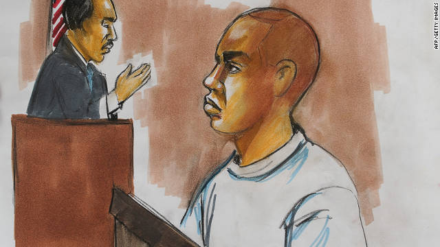 In this artist's sketch, Nigerian bombing suspect Umar Farouk AbdulMutallab appears in a Detroit court on January 8, 2010.
