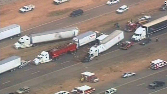An Arizona dust storm caused wrecks involving at least 30 cars Tuesday on Interstate 10 north of Tucson, Arizona.