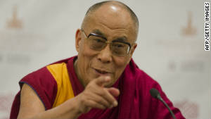 Tibetan spiritual leader, the Dalai Lama, speaks during a press conference in Mexico City on September 9, 2011.