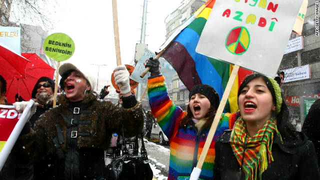 An International Women's Day protest in Ankara, Turkey, in March 2011