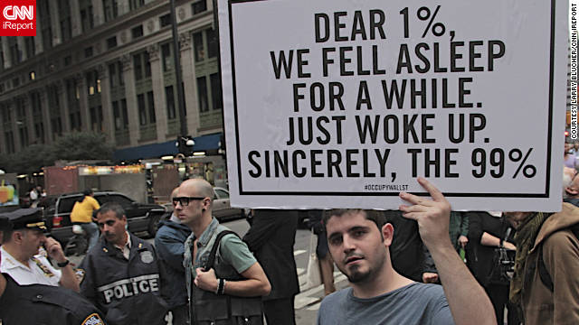 A protester holds a sign at the Occupy Wall Street protest last weekend
