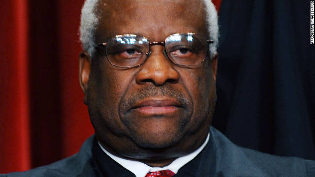Justice Clarence Thomas speaks on the bench after years of silence
