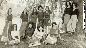 The original founders of the Boston Women\'s Health Book Collective pose for a photograph in the 1970s.