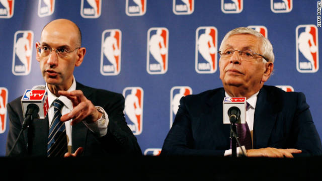 NBA Deputy Commissioner Adam Silver, left, and Commissioner David Stern speak at a press conference after NBA labor negotiations in New York on Tuesday, October 4, 2011.