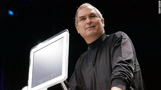 Jobs introduces the all-new flat-panel iMac computer during his keynote speech at the Macworld Expo in January 2002.