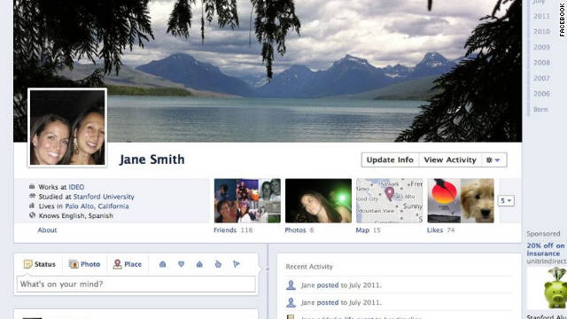 Facebook's new Timeline look will rearrange users' profile pages to emphasize the chronology of their lives