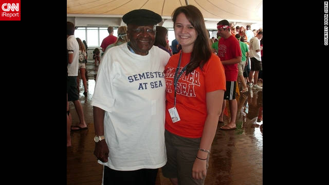 """Desmond Tutu is a man of many facets,"" says Emma Smith who met Tutu aboard a ship during a four-month study program entitled ""Semester at Sea."" Smith say she remembers Tutu for his ""joyous demeanor, his wise words, but most of all, his infectious laugh."""