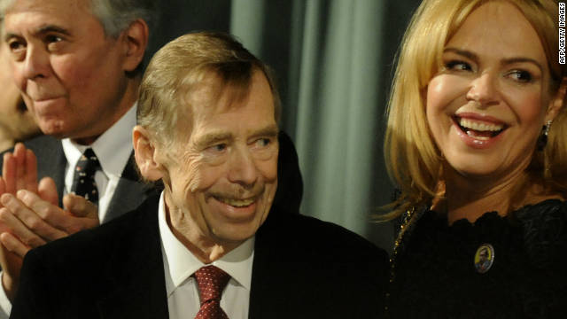 Former Czech Republic president and playwright Vaclav Havel (C) pictured on March 22, 2011 in Prague.
