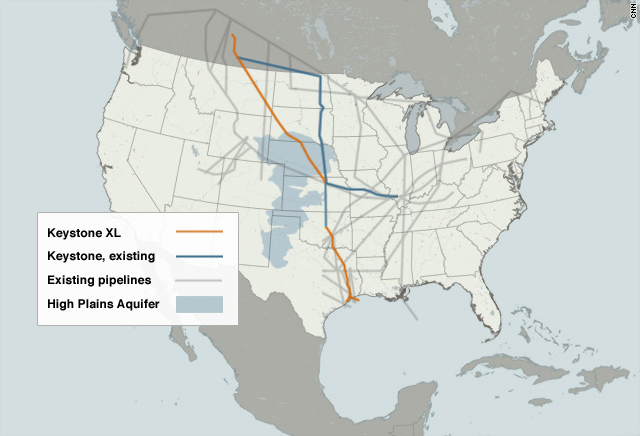 Keystone oil pipeline map