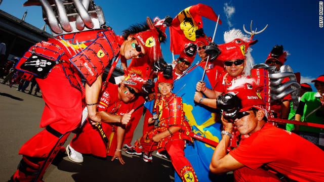 A group of Formula One fans in Japan show their support for Ferrari ahead of the grand prix in Suzuka last season.