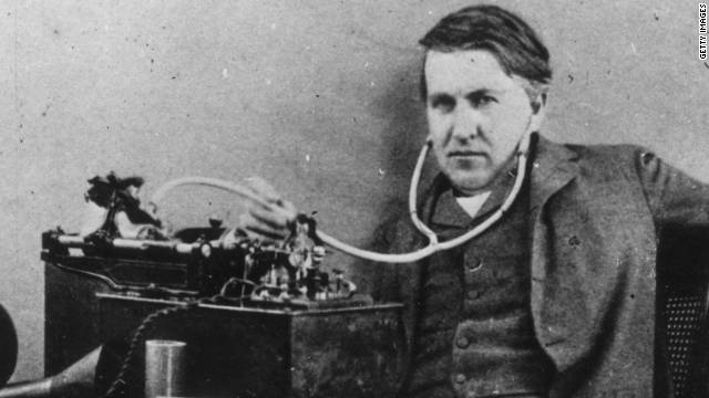Some compare the transformative impact of inventor Thomas Edison, seen here with his phonograph, to that of Steve Jobs.