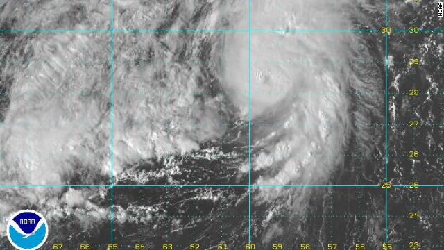 A satellite image shows hurricane Philippe in the Atlantic.