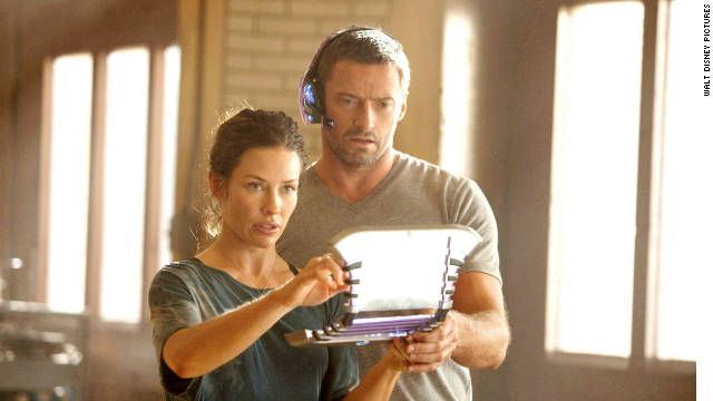 Hugh Jackman stars as Charlie Kenton and Evangeline Lilly stars as Bailey Tallet in
