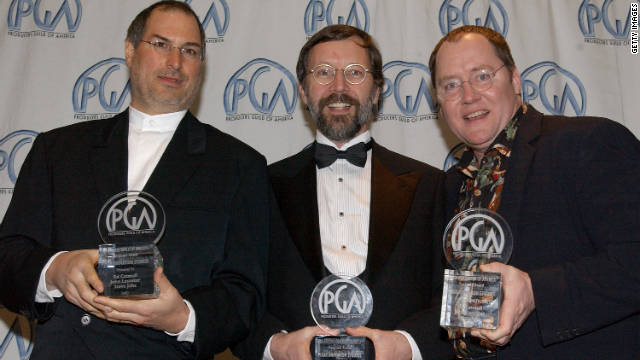 Jobs, from left, Ed Catmull and John Lasseter celebrate an award for Pixar at the 13th Annual Producers Guild Awards in March 2002 in Los Angeles.