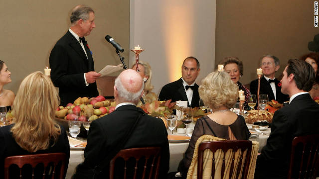 Prince Charles speaks at a dinner for business leaders, including Jobs, on November 7 in San Francisco.