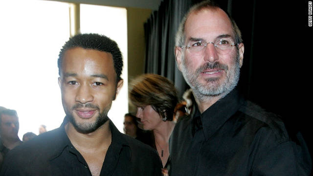 Musician John Legend hangs with Jobs during an Apple media event September 12, 2006 in San Francisco.