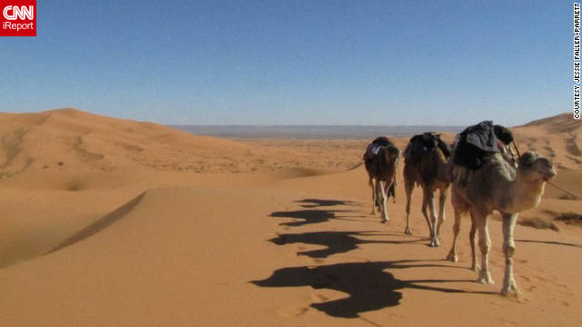 "Jessie Faller-Parrett ""took a two-day, two-night camel trek into the desert and rode camels, spent the nights in camps with Berber families, ate wonderful meals, hiked sand dunes, and saw an endless sky of stars."""
