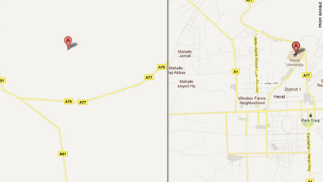 A map of Herat, Afghanistan, shown before and after volunteers helped Google add details.