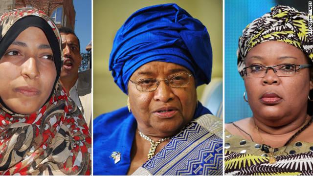 (L-R) Yemen's Arab Spring activist Tawakkul Karman, Liberian President Ellen Johnson Sirleaf and activist Leymah Gbowee