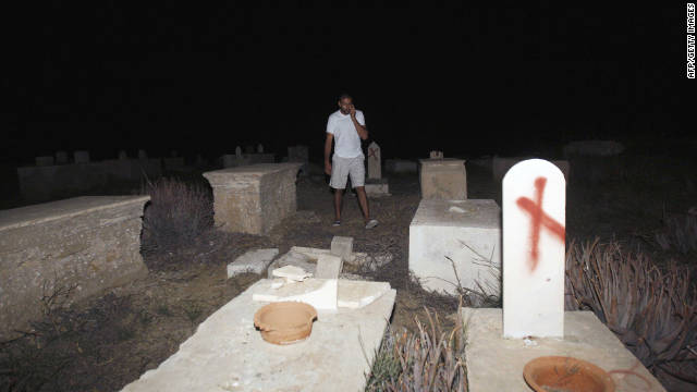 Some of the graves were spray-painted with graffiti while others were smashed at two cemeteries in Jaffa.