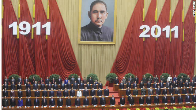 China's leaders sing the national anthem at a ceremony marking the anniversary of the Xinhai Revolution on October 9 in Beijing.