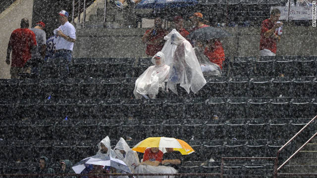 Heavy rains at Rangers Ballpark in Arlington force a delay Saturday in a game between the Texas Rangers and Detroit Tigers.