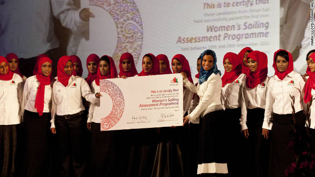 At the launch of the Oman Sail Womens Sailing Program, the head of media and marketing, Salma Al Hashmi presented the 30 women with their certificate.