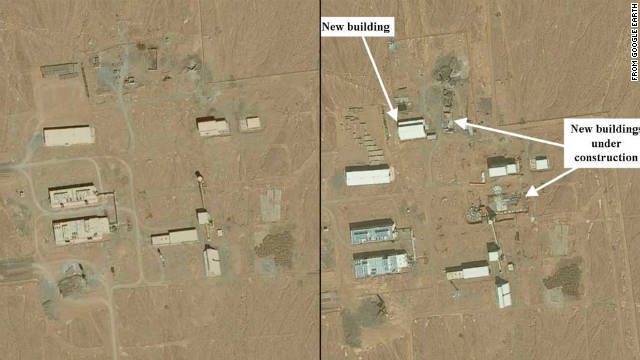 Google satellite images show a yellowcake production facility under construction in 2009, left, and several new buildings in 2011.