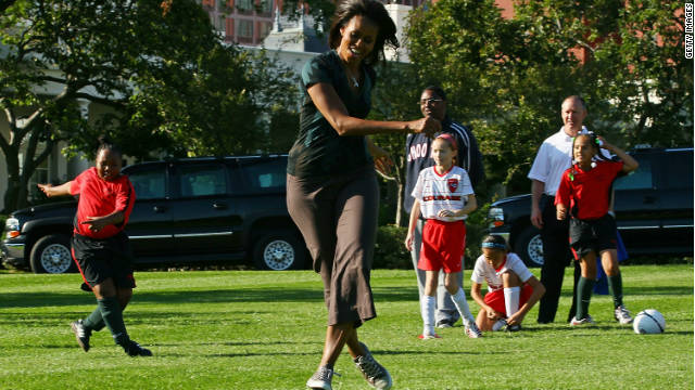 First lady Michelle Obama hosts a Let's Move! soccer clinic last week on the White House's South Lawn.