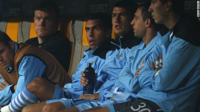 Tennis is not the only sport in which strike threats have been mooted. Just recently, Carlos Tevez (fourth right) reportedly refused to play for Manchester City against Bayern Munich, an allegation he later denied. Is it possible that top tennis players will do the same?
