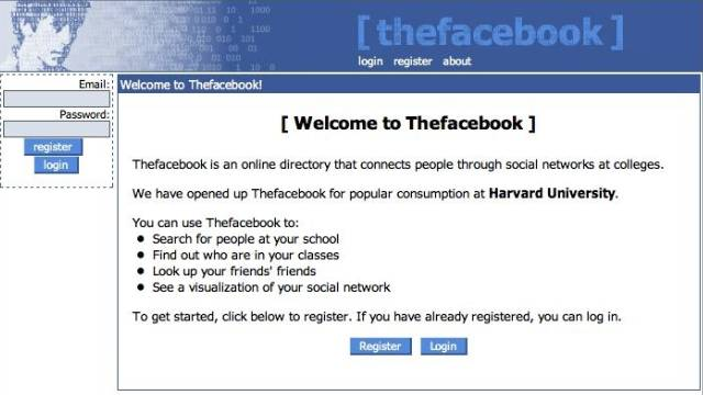 It all began in a Harvard dorm room in 2004. Mark Zuckerberg and fellow students Dustin Moskovitz, Chris Hughes and Eduardo Saverin start what then was known as Thefacebook. The social-networking site spreads to other Ivy League universities the next month.