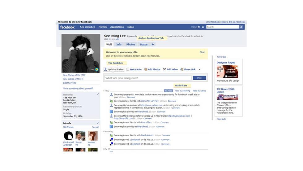2008: Nuevas páginas de perfil